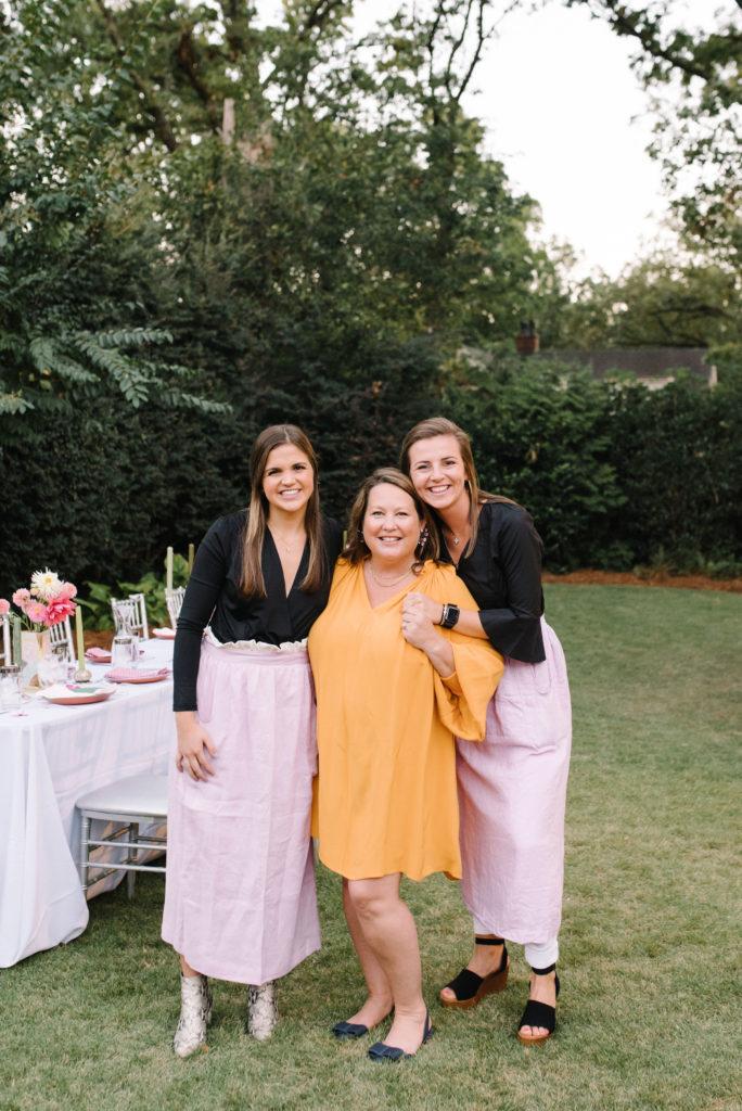 garden party dinner hosts cheri becca maggie